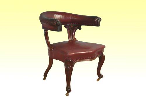 Quality Victorian Mahogany Upholstered Antique Desk Library Chair