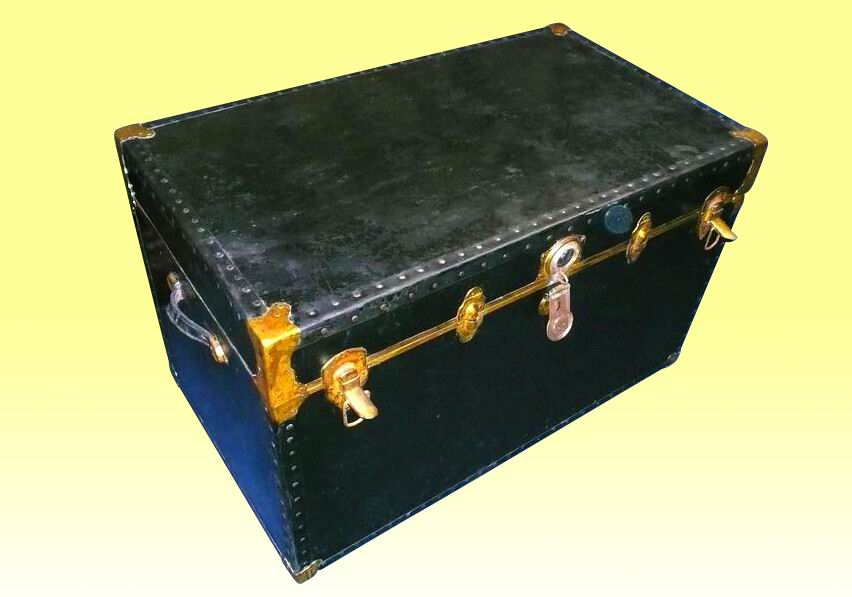 A Black Leather And Metal Bound Trunk with Original Interior