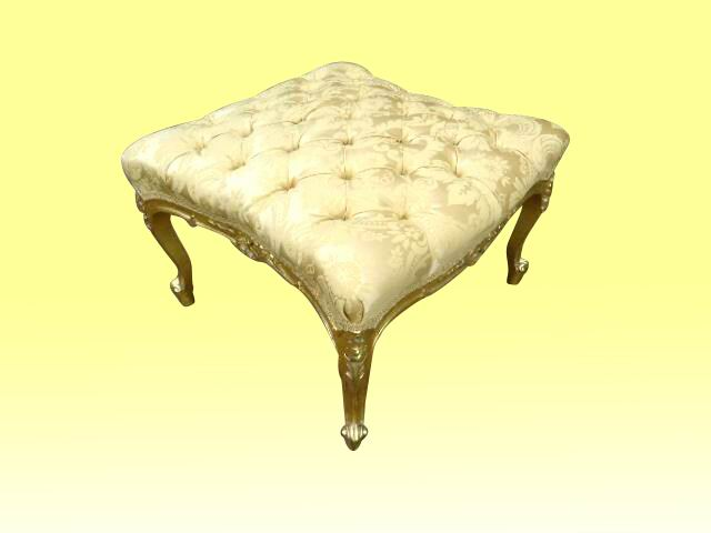 Beautiful Deep Buttoned Re Upholstered   Large Antique Gilt Stool