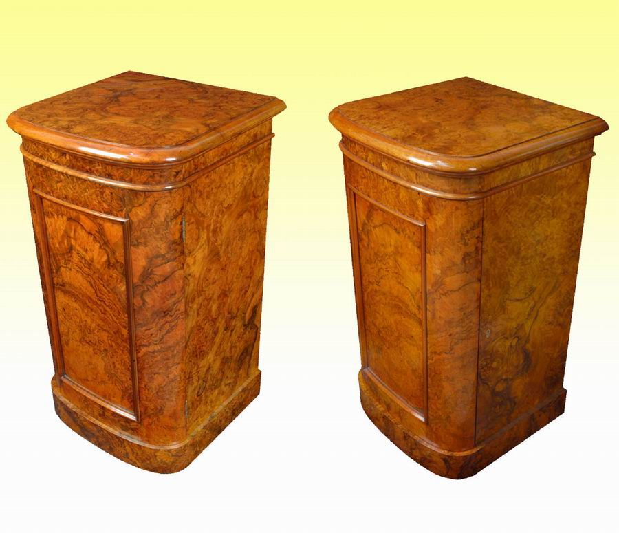 Magnificent Pair Of Victorian Burr Walnut  Antique Cabinets