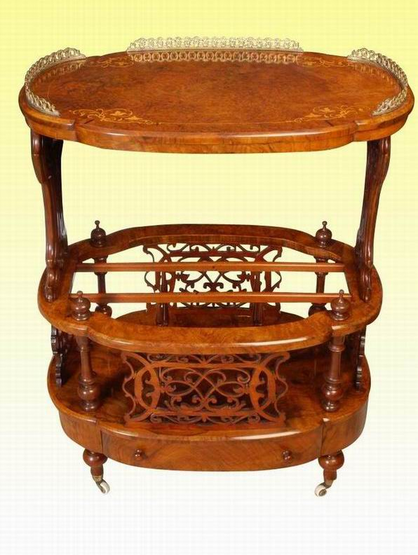 Magnificent Inlaid Burr Walnut Oval Antique Canterbury Table