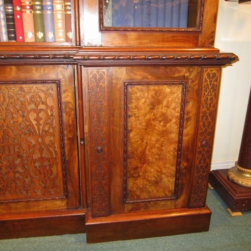 Fabulous Large Figured and Burr Walnut Inverted  Breakfront Antique Bookcase