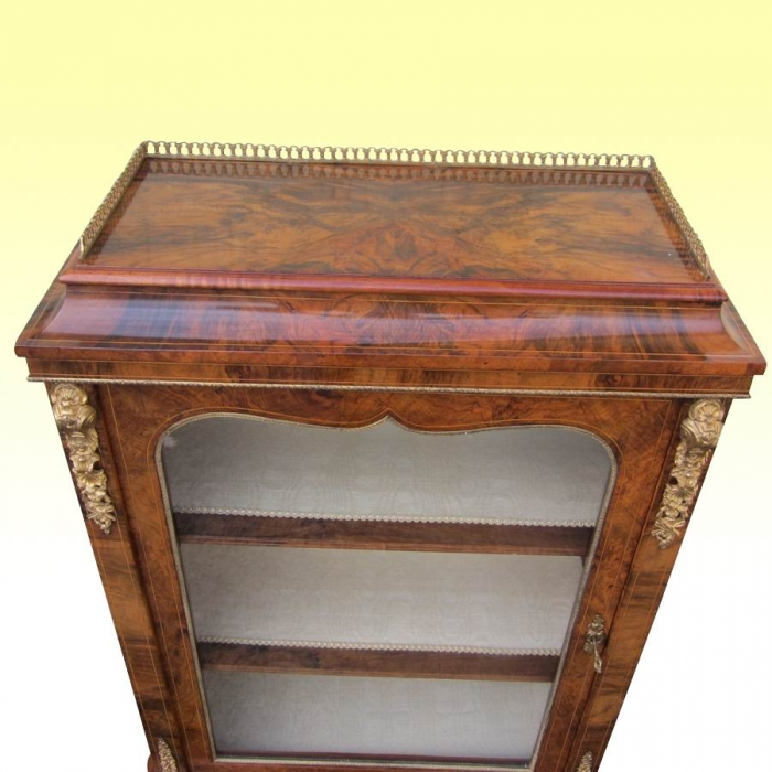Fabulous Quality Inlaid Figured Walnut Ormolu Mounted Antique Pier Display Cabinet
