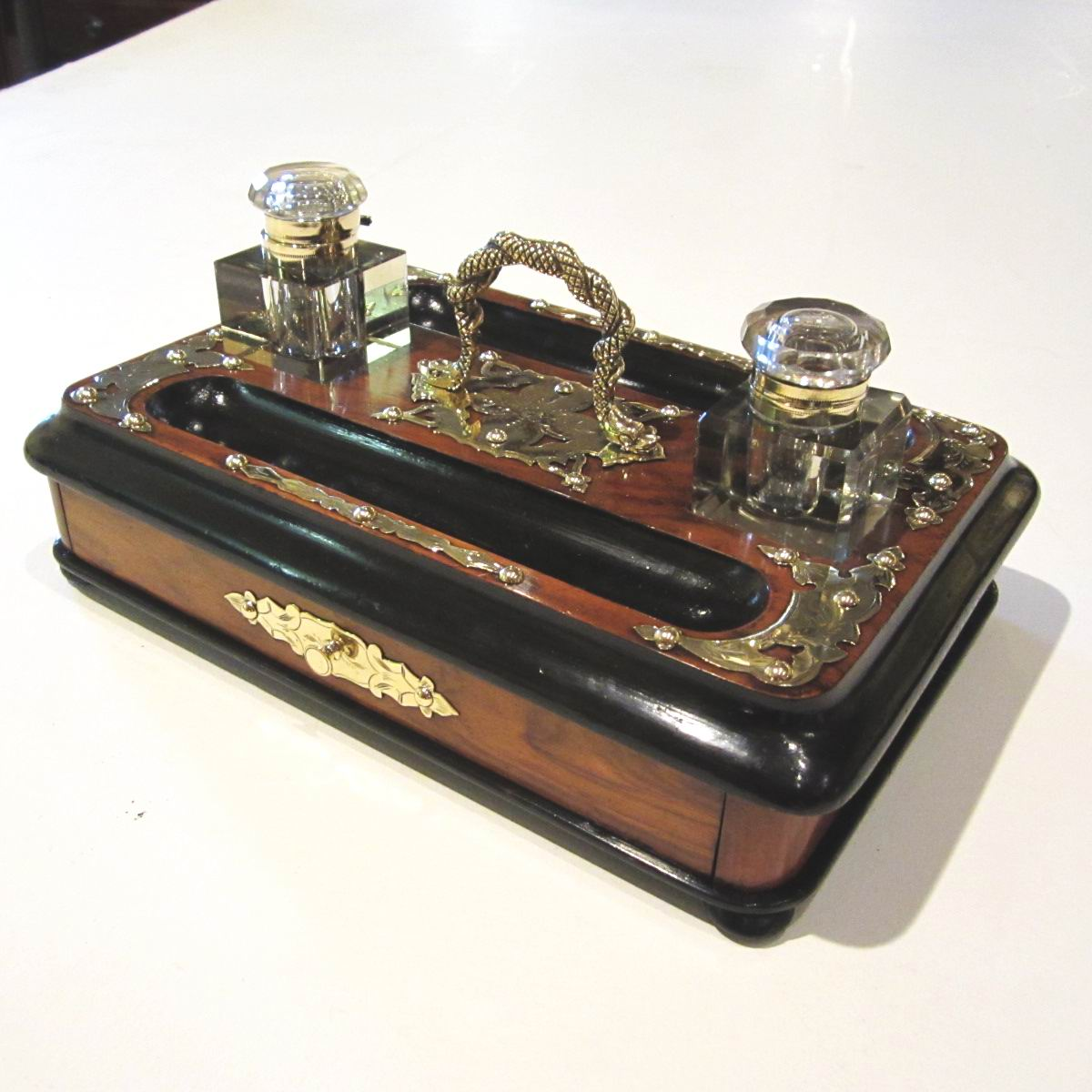 Victorian Brass Bound Walnut And Black Antique Desk Set