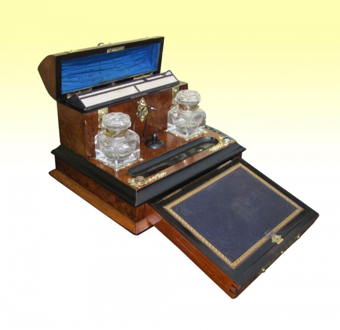 Fabulous Victorian Brass Mounted Antique Burr Walnut Desk Set With Writing  Slope Complete With Original Ink - David Wolfenden Antiques -