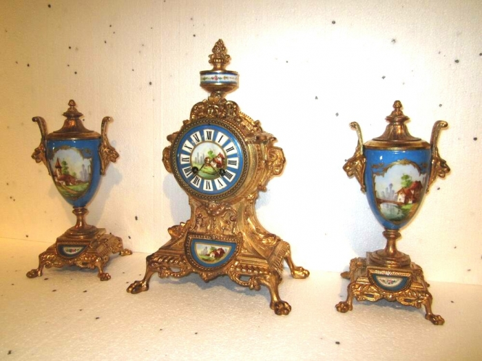 Beautiful 19th Century  French Clock Garniture Set