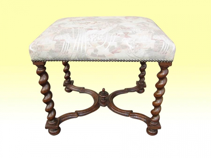 Superb William And Mary Design Antique  Victorian Oak Stool