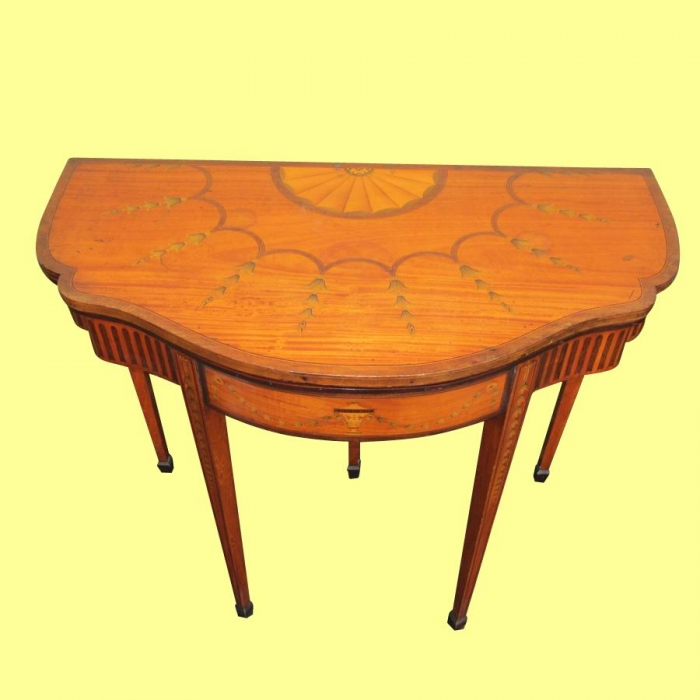 Superb Antique  Inlaid And Painted Satinwood  Serpentined Shape 19th Century  Turn Over Leaf Games Table