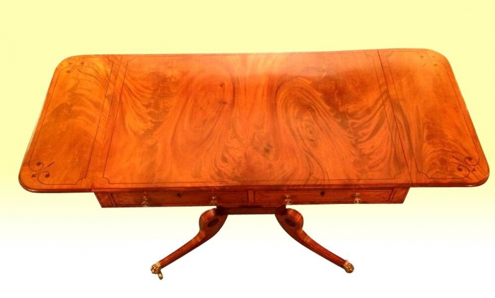 Superb Inlaid Mahogany Regency Antique Sofa Table