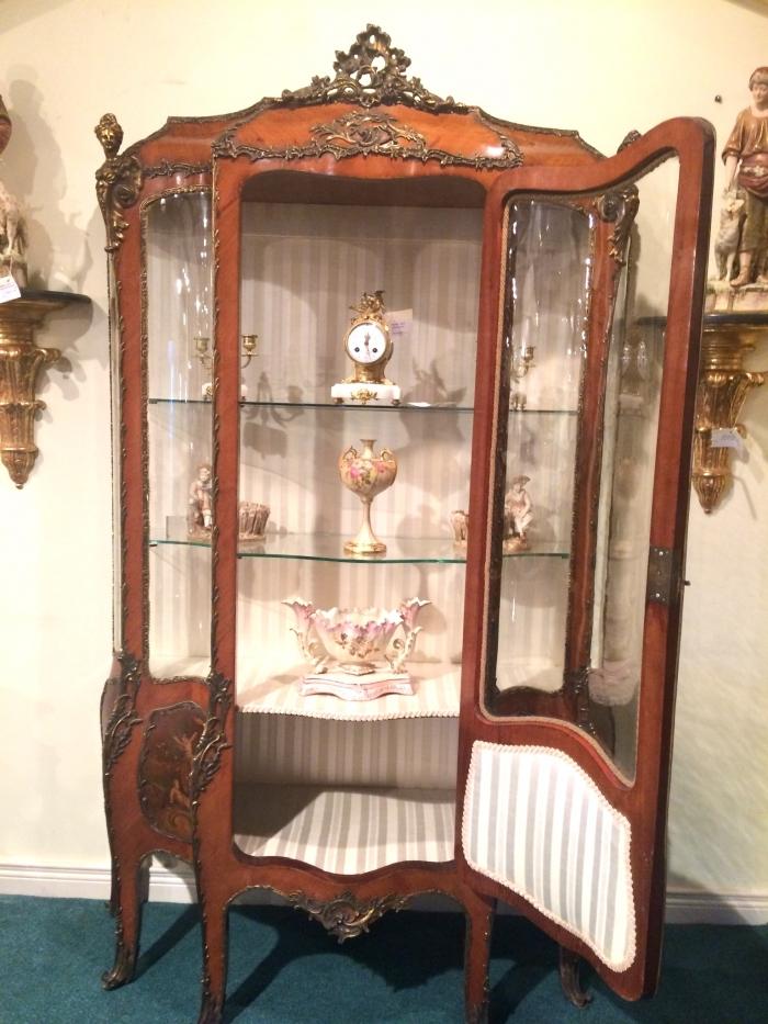 An Antique Kingwood  French Bombe Vernis Martin Display Cabinet