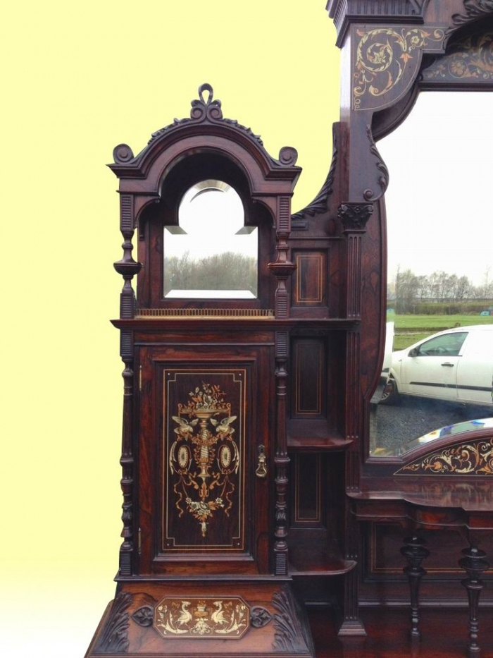 A Magnificent Large Antique Rosewood Chiffioneer Display Cabinet