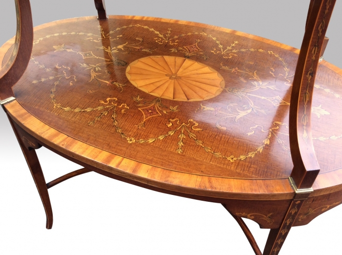 Beautiful Inlaid Marquetry Mahogany And Satinwood Antique Etargere Complete With Glass Tray