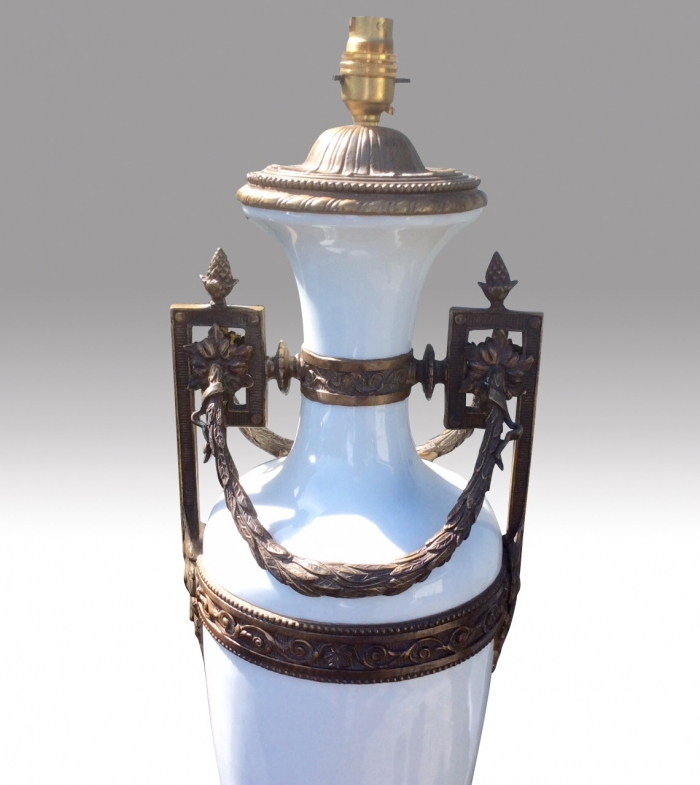 Magnificent Pair Of  Very Tall Antique Bronze And White Glass Table Lamps