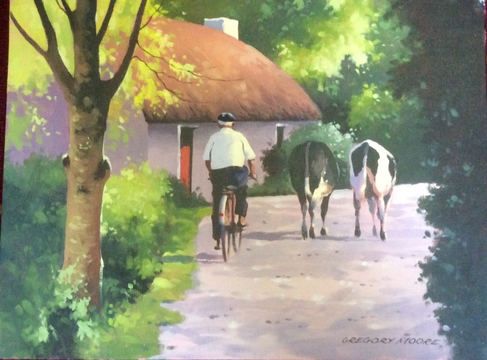 Framed Irish Painting by Gregory Moore (Man with two cows)