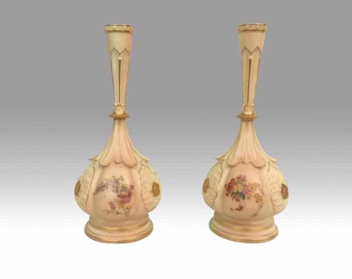Beautiful Pair Of Antique  Royal Worcester Vases
