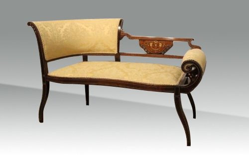 A small antique mahogany inlaid Settee,window seat