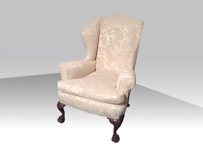 Quality Antique Upholstered Wing Back Chair