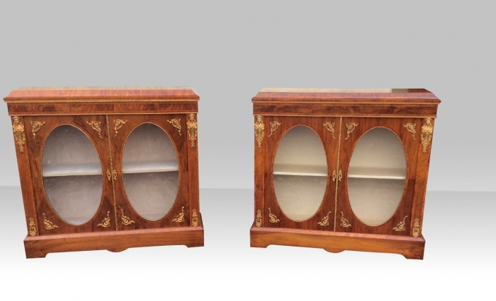 Pair Of  Stunning Quality Figured Walnut Ormolu Mounted  Caddy Topped Oval Two Doored Pier Cabinets
