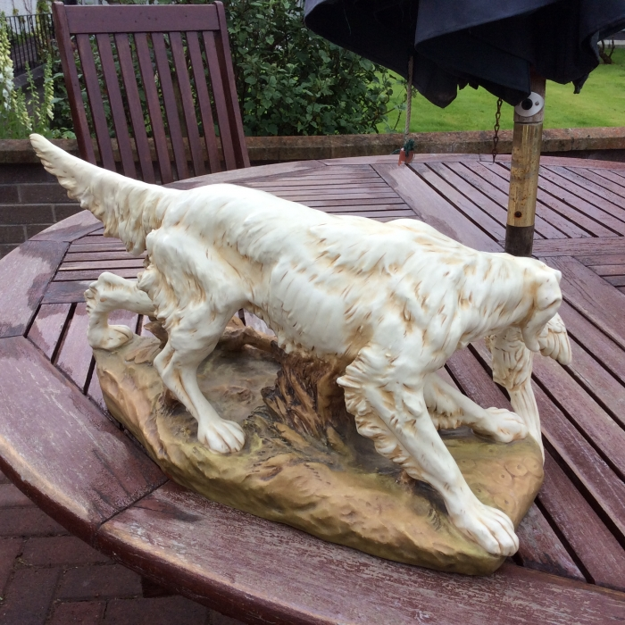 Antique Royal Dux figure of dog