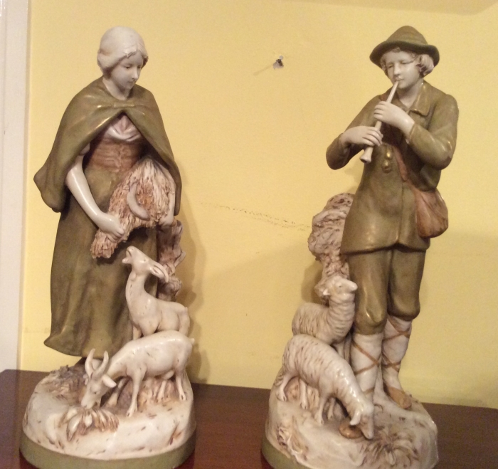 Lovely pair of Royal Dux figurines,shepherd and shepherdess.