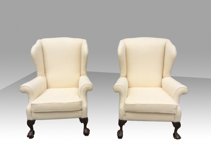 Superb pair of antique wing back chairs