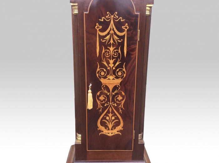 Magnificent Edwardian 8 Day 8 Bell Mahogany Inlaid,Antique Long Case Grandfather Clock