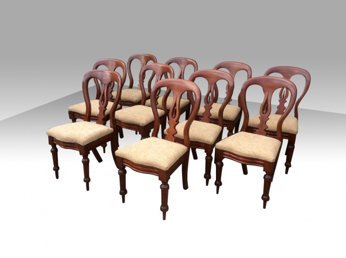 Superb Set Of Ten Antique Mahogany Dining Chairs
