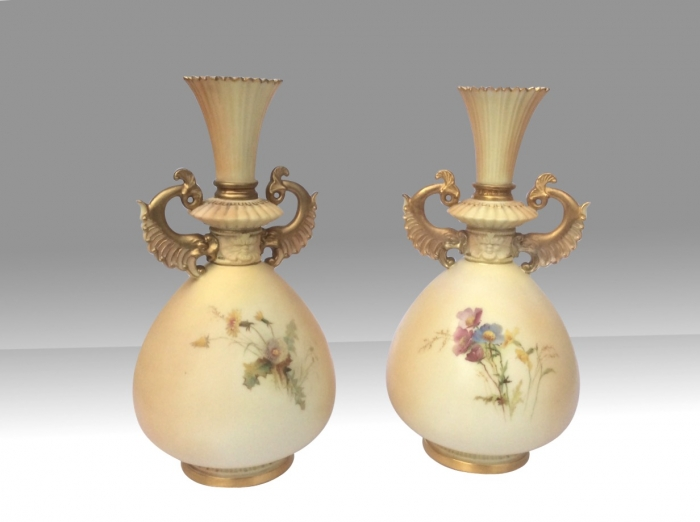 Very Fine Pair Of Antique  Painted  And Blush Ivory  Royal Worcester Vases