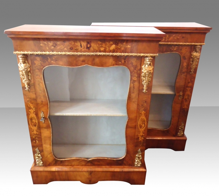 Fabulous Pair Of Antique Figured Walnut and Marquetry Pier Side Display Cabinets