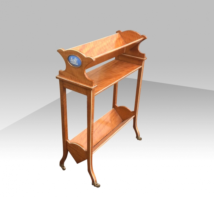 Quality Satinwood Antique Book Trough Table