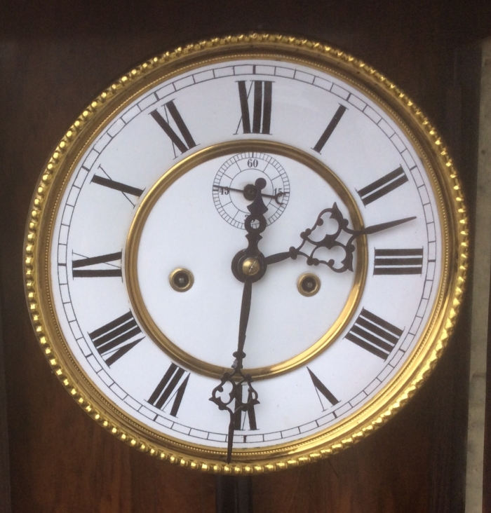 Quality Antique Victorian Black and Walnut Double Weight Vienna Clock.