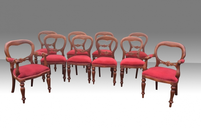 Set of ten vintage mahogany balloon back dining chairs