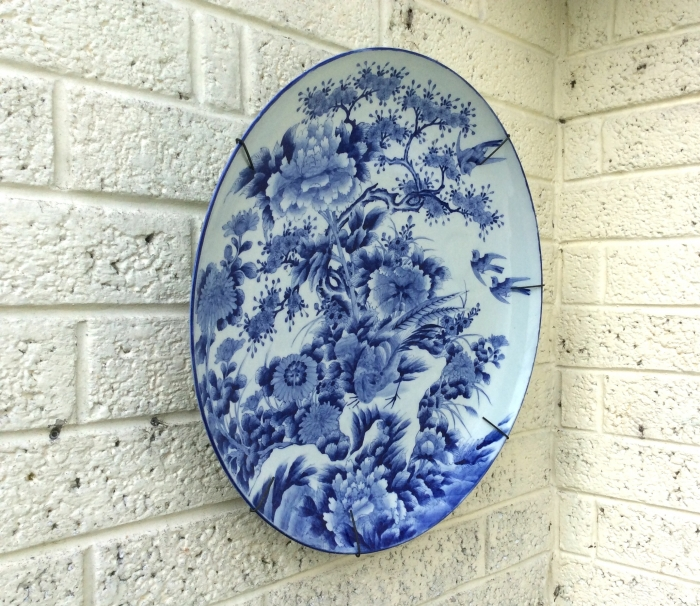 Magnificent Very Large Antique Japanese  Imari Blue And White Hand Painted Charger Plate.