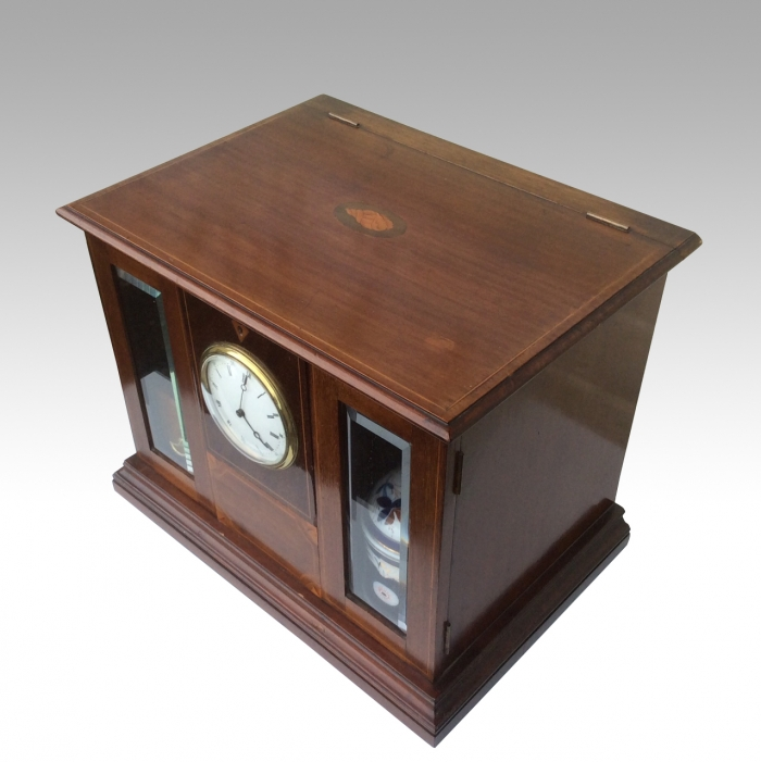Superb Quality Antique Inlaid Mahogany Pipe Smokers Cabinet Complete With Clock Time Piece