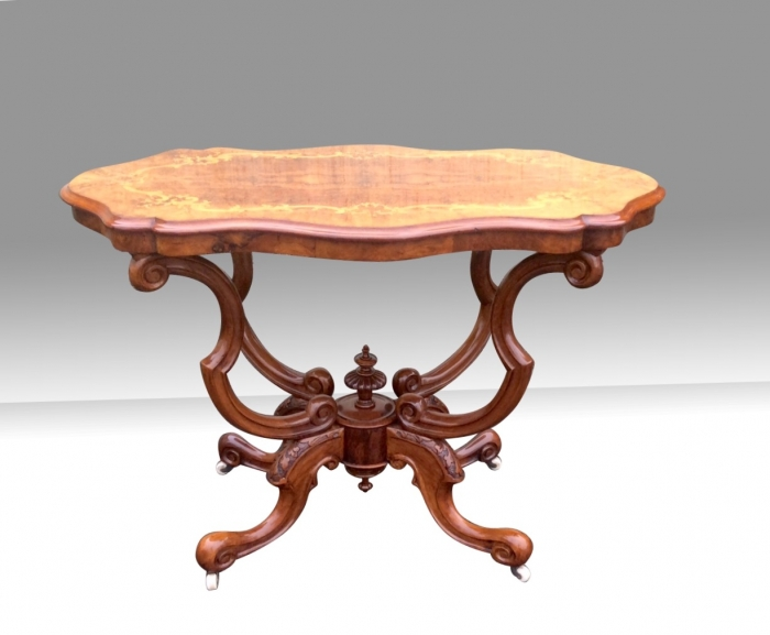 Magnificent Antique Marquetry Inlaid Burr Walnut Window Table