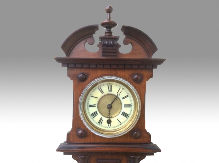 Unusual 19th Century Wall Clock with Therometer and Aneroid Barometer Incorporated.