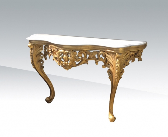 Superb Quality Antique Gilt Carved Console Table With  Serpentined Shaped White Marble Top