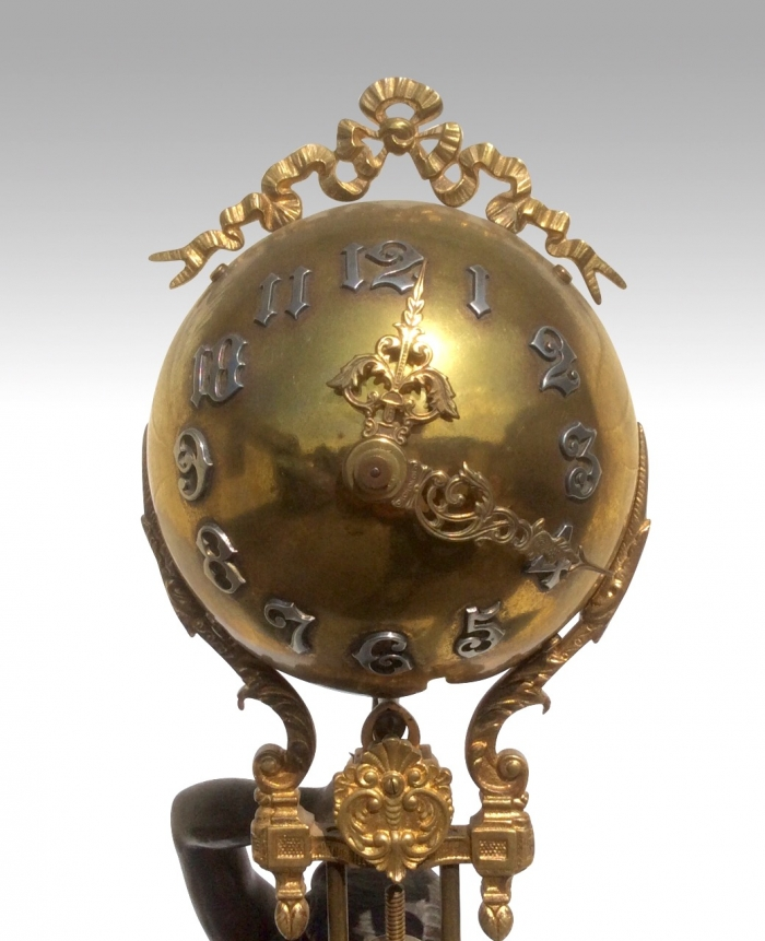 Ansonia Figural Mystery Ball Swinging Clock