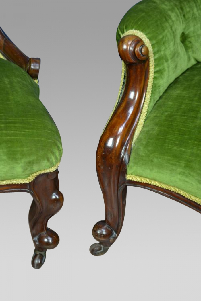 PAIR OF ANTIQUE VICTORIAN MAHOGANY LADIES AND GENTS CHAIRS