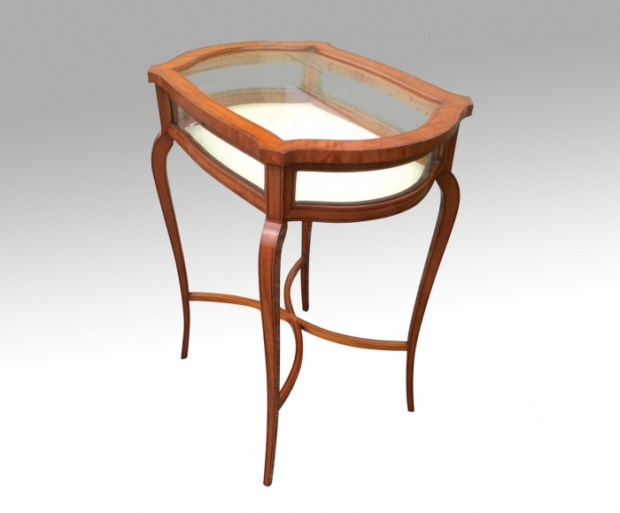 Stunning Inlaid Satinwood Bijouterie Display Table Cabinet.