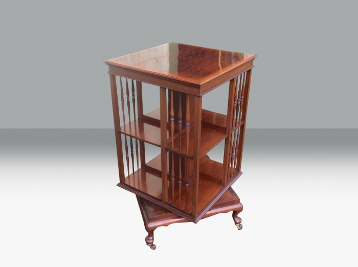 Fabulous quality inlaid Mahogany  antique revolving bookcase.