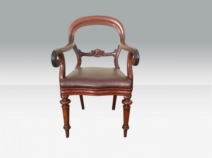 Quality Victorian Mahogany Ballon Back Carver Desk Chair
