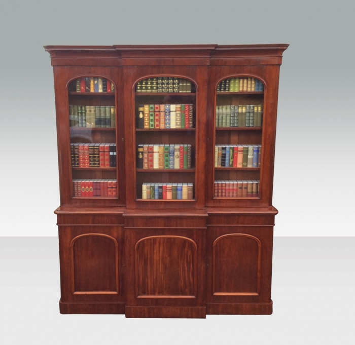 Fabulous Antique Mahogany Three Door Breakfront Bookcase Of Great Proportions.