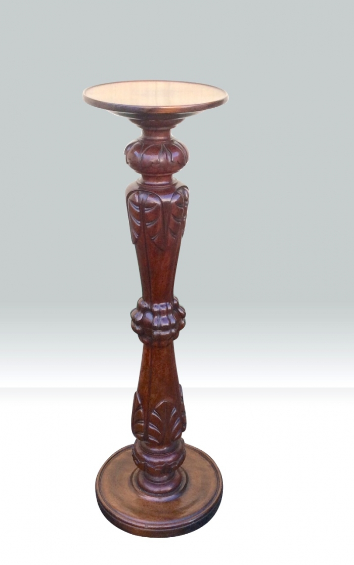Quality Antique Carved Mahogany Pedestal Torchere