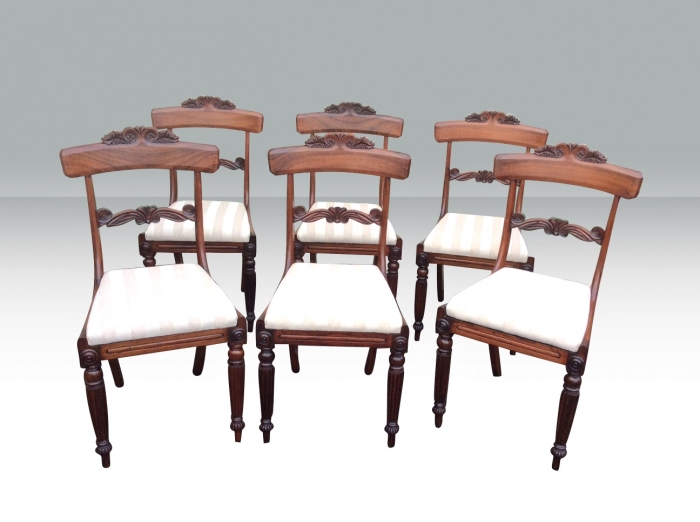 Fabulous Set Of Six Antique Regency Rosewood Dining Chairs