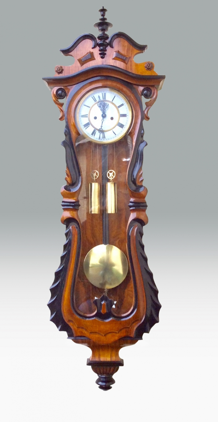 Fabulous Serpentine Shaped Antique Vienna Black and Walnut Wall Clock.