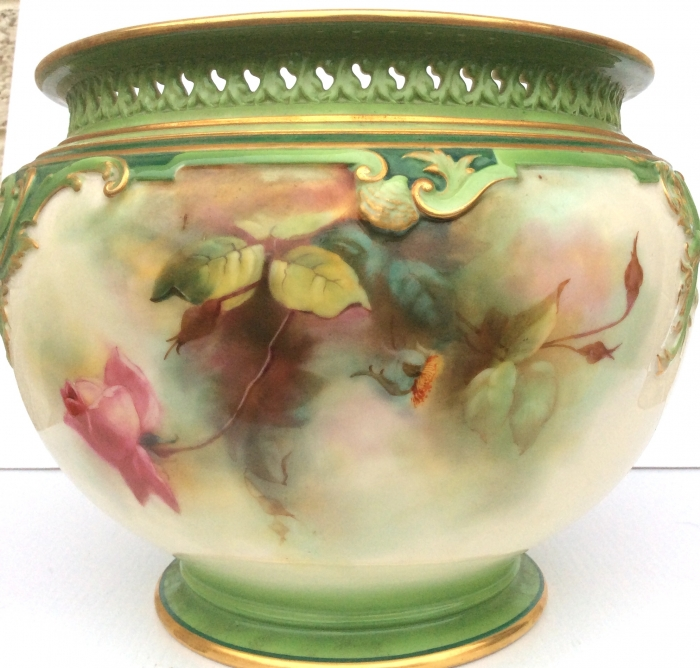 Large Antique Royal Worcester Hand Painted Jardiniere.