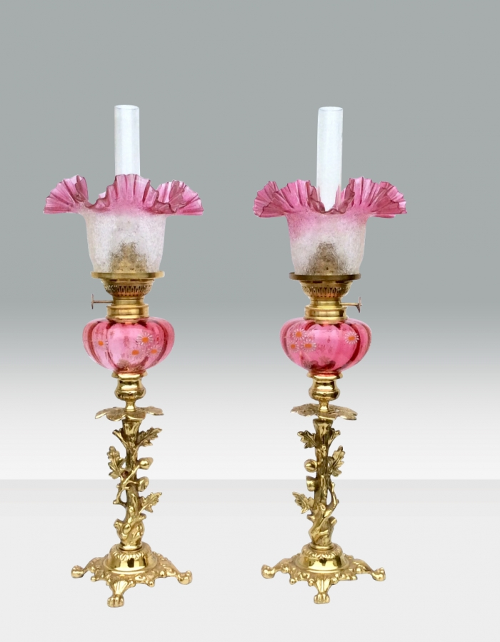 Beautiful Matching Pair Of Original Antique Ruby Glass Oil Peg Lamps