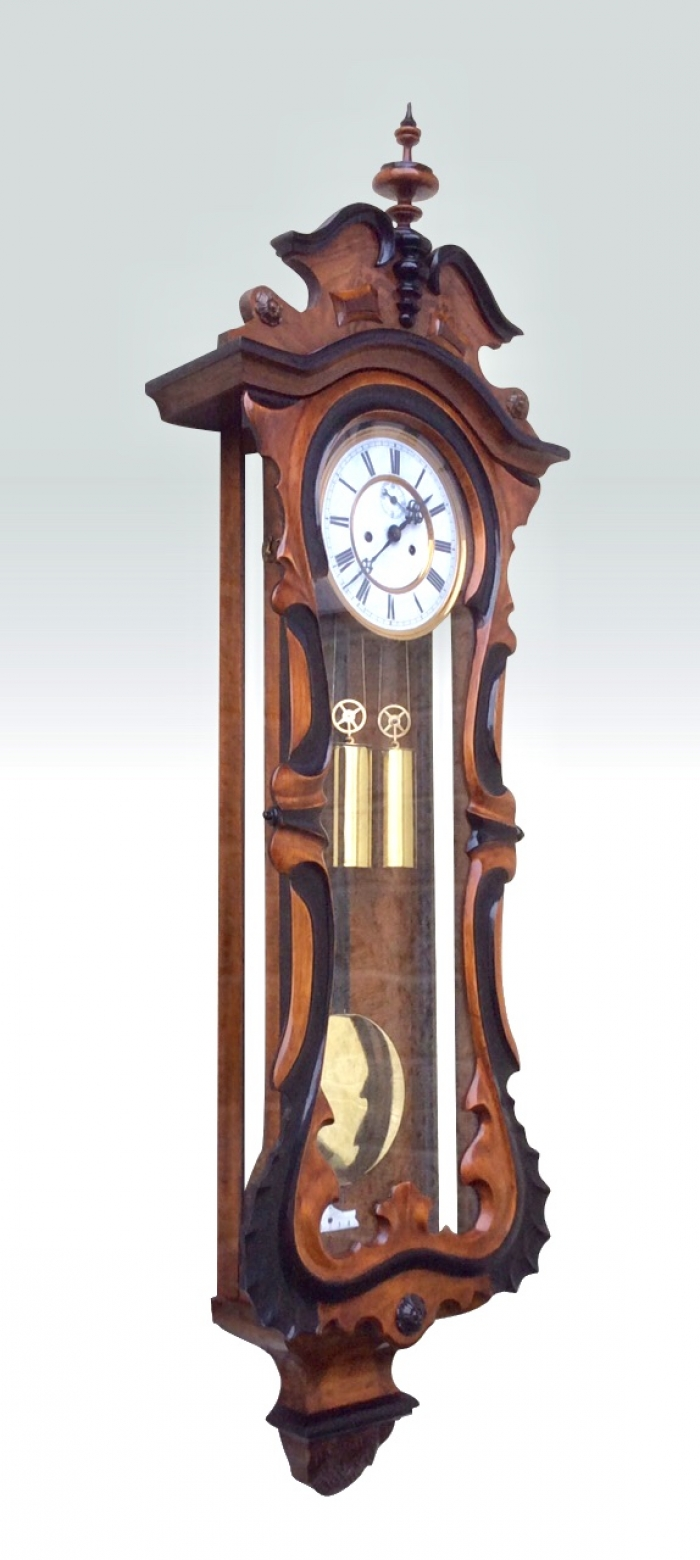 Magnificent Quality Serpentine Shaped Antique Double Weighted Vienna Black and Walnut Wall Clock.
