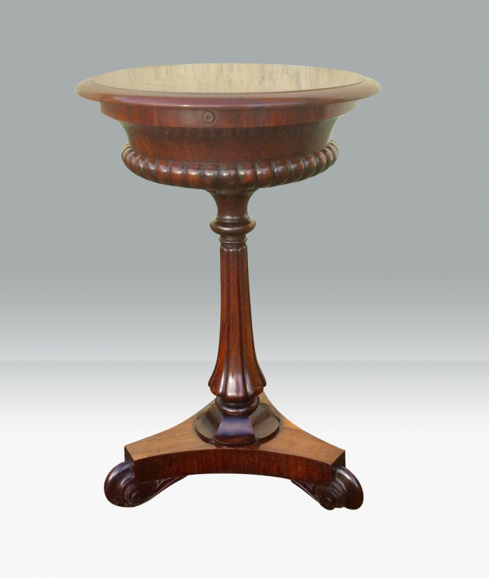 Fabulous Antique Regency Rosewood Circular Lamp Table,Teapoy With Rare Large Rising Telescopic Lid.